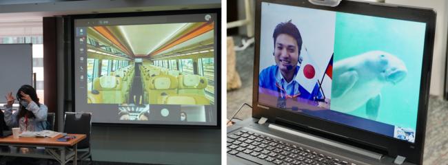 ビデオ通話を使用したオンライン商談会で電車車内と水族館を表示する
